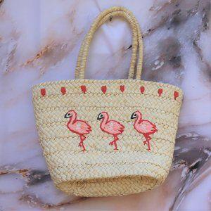 Venus Woven Straw Flamingo Tote Beach Bag